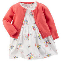 Carter's Girls Ivory Floral Printed Empire Waist Sateen Dress with Diaper Cover and Coral Knit Cardigan