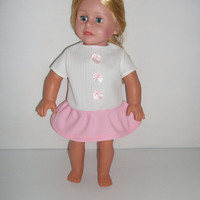 Handmade for American Girl Doll  White Dress with Pink by vw53