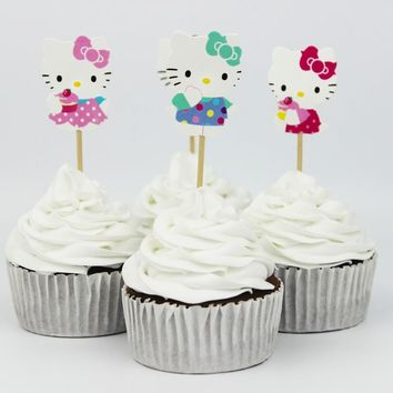 720pcs Lovely Cut Cat Hello Kitty Cup Cake Topper Pick Sweet Cat Kitty Party Supplies Picks Birthday Wedding Party Decoration