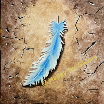 "Still life abstract painting Blue Feather Cracked Floor Art Acrylic Canvas wall decor 20""X16"""