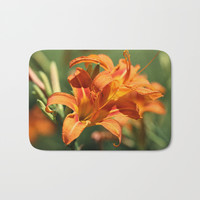Lilies Come Lately Bath Mat by Theresa Campbell D'August Art