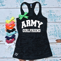 Army burnout tank top S-2XL. Military support tank top. Army Wifey. Army Mom. Army Sister. Army Girlfriend. Marathon tank top.