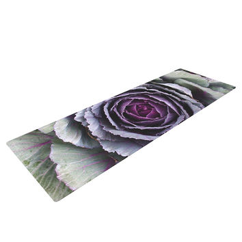 "Susan Sanders ""Flower Love"" Purple Green Yoga Mat"