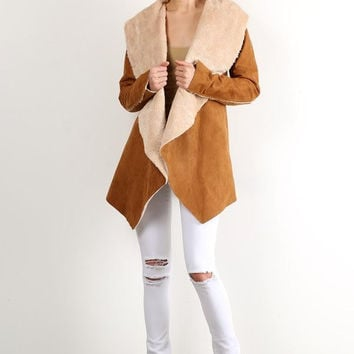 Faux Suede Fur Lined Jacket