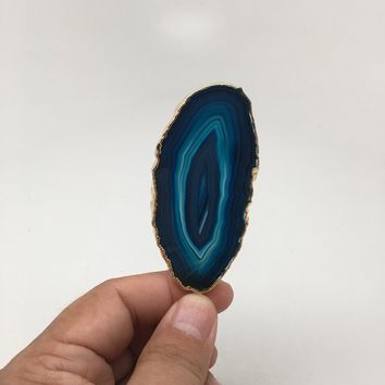 115.5 cts Blue Agate Druzy Slice Geode Pendant Gold Plated From Brazil, Bp1039