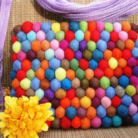 Kindle Cover Gumball Felt Clutch Purse by YUMMI unique beautiful yellow fun colorful clutch purse