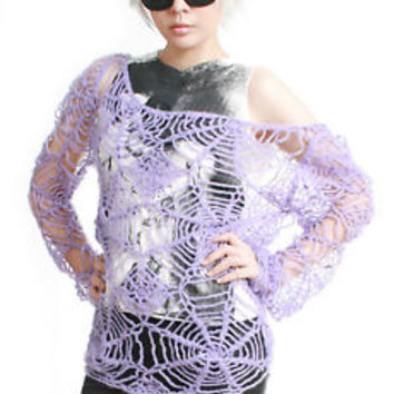 RTBU Gothic Punk Cobweb Spider Web Net Mohair Knitted Crochet Sweater Pastel emo