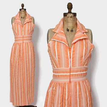 Vintage 70s Halter DRESS / 1970s Peach & White Seersucker Cotton Maxi Dress
