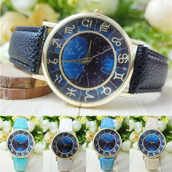 2016 Elegant Watch Women Women's Men's Symbol Dark Blue Dial Faux Leather Band Quartz Analog Wrist Watch  5J7K