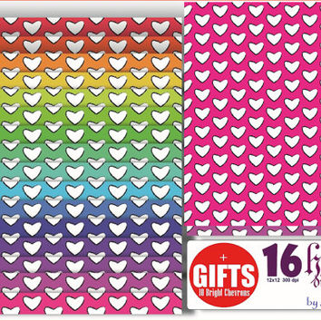 Pastel Rainbow Hearts Scrapbook Digital Papers background invites card scrapbooking sheet wedding party craft supplies graphic clipart DIY