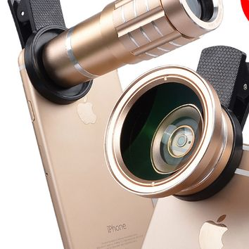Mobile phone general telephoto lens 12 times long coke 0.45X ultra wide Angle micro phone special effects lens.