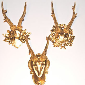 Metallic Gallery Wall Faux Antler Collection - 3 Faux Taxidermy Small Fancy Antler Wall Mounts SCF08
