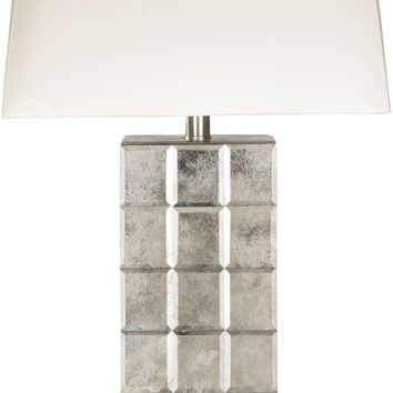 Silas Glam Table Lamp Antiqued Mirror White