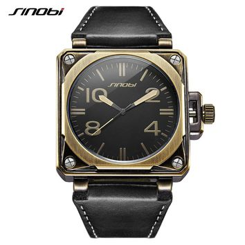 SINOBI Sport Men Wrist Watches Bronze Case Durable Black Leather Watchband Square Shape Hot Cowboy Style Casual Man Quartz Watch
