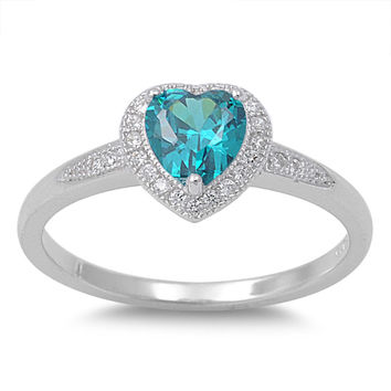 925 Sterling Silver CZ Accented Heart Center Simulated Blue Topaz Ring 8MM