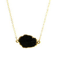 24K Yellow Gold Natural Black Obsidian Stone Slice Necklace - 14K Yellow gold Chain - Geode Pendant - Modern Fine Jewelry