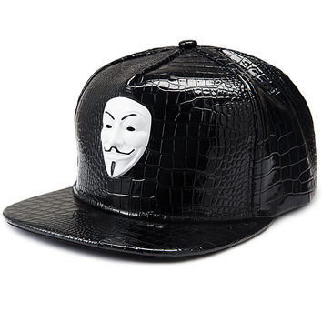 Face Mask Hip-hop PU Leather Baseball Cap Hats