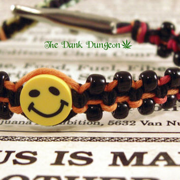 Rainbow Hemp Smiley Face Bracelet, Hemp Bracelet, Smiley Face Bracelet, Roach Clip Jewelry, Hemp Roach Clip, Hippie Bracelet, Macrame Hemp