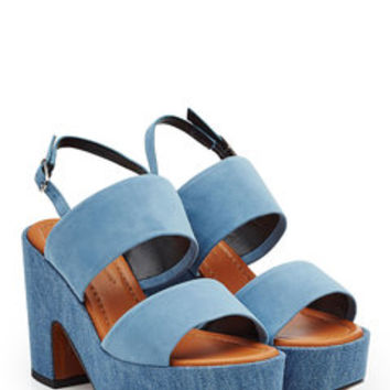 Suede and Denim Sandals - Robert Clergerie | WOMEN | US STYLEBOP.com