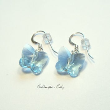 Butterfly Earrings, Crystal Earrings, Dangle Earrings, Girls Earrings, Butterfly Jewelry (B48)