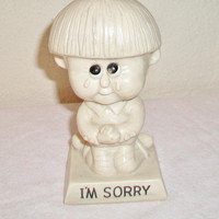Vintage Russ Berrie Sillisculpt Figurine 1970 I'm Sorry Retro R & W Berries Cos Collectible Kitsch Home Decor