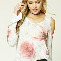 Floral Print Open-Knit Top