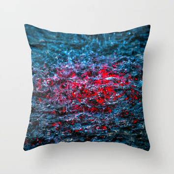 Water Color - Red Throw Pillow by Digital2real