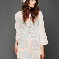 Free People Embroidered Mesh Tunic Slip