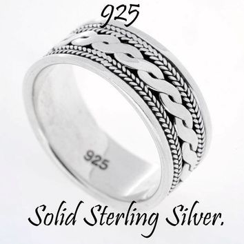 SIZE 9 NEW Surfer Sport GIFT Solid Sterling Silver Dress Band Men Ring 4R-210