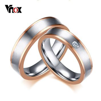 Vnox Dual Rose Gold-color Line Wedding Ring Band Stainless Steel CZ Stone Promises Band bijoux Anniversary one piece