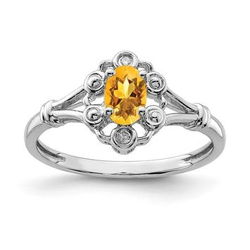 Sterling Silver Citrine & Diamond Ring