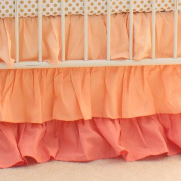 Crib Skirt: Coral 3 Tiered Ruffled