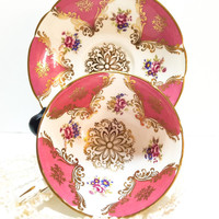 Paragon Tea Cup, Hot Pink with Central Gold Medallion, Flowers, High Tea, 1960s
