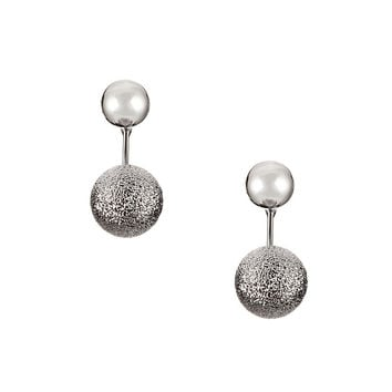 Silver Double Beaded Earrings