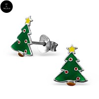 925 Sterling Silver Colorful Christmas Tree Earrings Ear Stud