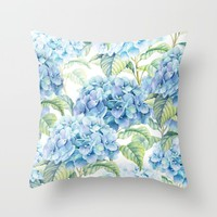 Blue Hydrangea Throw Pillow by Juliana RW
