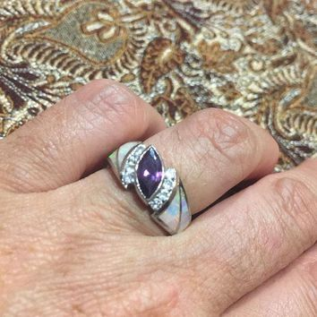 Start Your Holiday Shopping!!! Vintage Handmade Genuine purple Amethyst and opal inlay setting 925 Sterling Silver gothic Ring