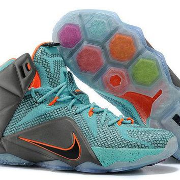 2018 Authentic lebron 12 Lava Silver Ice South Beach Sport Turquoise Teal Pink Total Orange Wolf Grey Brand sneaker