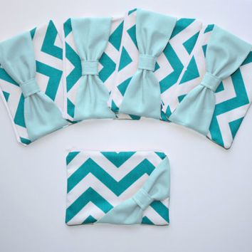 Bridesmaid Gift Set / Bachelorette Favors - Turquoise Chevron Light Aqua Bow - Wedding Cosmetic Cases - Choice of Quantity and Style