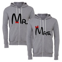 mr & mrs matching couple zipper hoodie