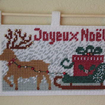SALE Christmas Reindeer and Sleigh Needlepoint Wall Art Holiday Tapestry Reindeer Needle Art, Holiday Winter Art