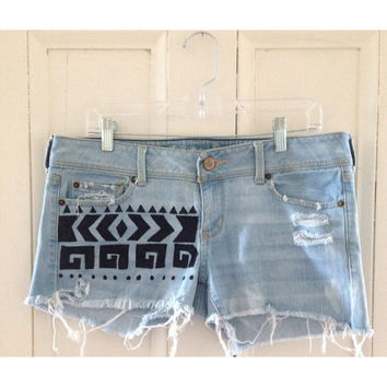 Distressed Tribal Bleached Denim Shorts