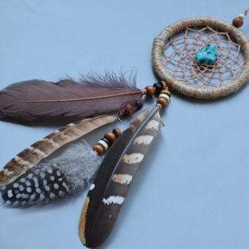 Rear View Mirror Charm, Native american Style, Natural Dream catcher, Car accessory, Pheasant Feathers, Turquoise  Stone