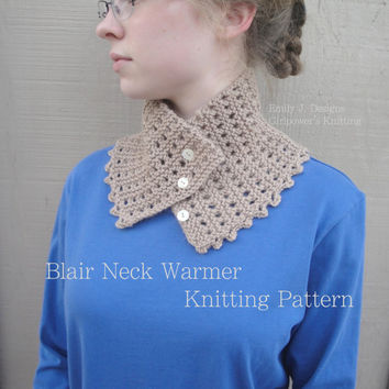 Easy Knitting Pattern, Blair Neck Warmer Cowl Scarf, Button Scarf, Worsted DK Yarn, 1 Skein Scarf
