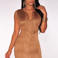 Mocha Faux Suede Criss-cross Neck Cut-out Mini Dress