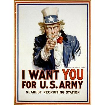 War Propaganda Art Uncle Sam poster Metal Sign Wall Art 8in x 12in