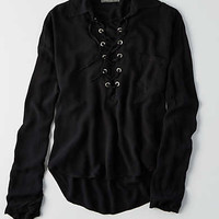 Don't Ask Why Long Sleeve Pocket Shirt, Black