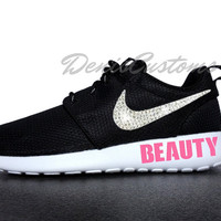Nike Roshe Run One Black with Swarovski Glitter Crystals Swoosh and Pink  BEAUTY Paint 083021bfe