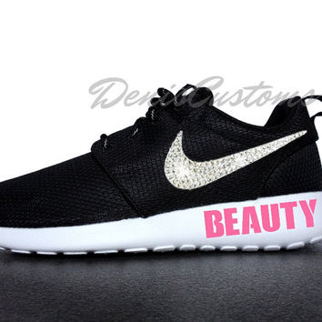 Nike Roshe Run One Black with Swarovski Glitter Crystals Swoosh and Pink BEAUTY Paint