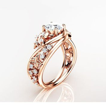 Special Reserved - Butterfly Design Toumaline Engagement Ring
